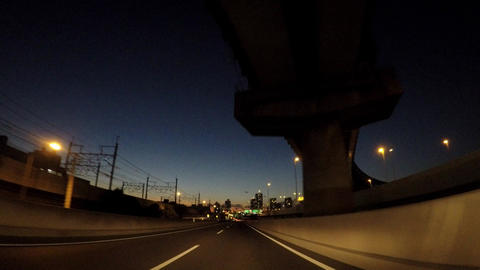 Evening Tokyo Bay Street, National Route 357 Footage