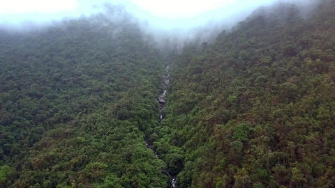 Drone Rises above Forestry Canyon with River on Foggy Day Footage