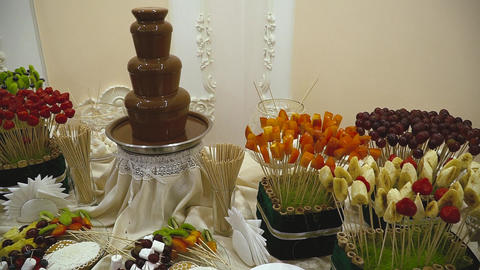 Candy Bar Wedding, candy buffet, chocolate fountain, cakes Stock Video Footage