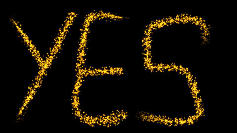 Sparkling golden animation with the YES sign Animation