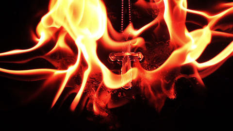 Christianity Religion Symbol Cross and Fire Burning Footage