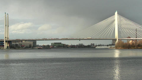 Cable-stayed bridge sunlit Footage