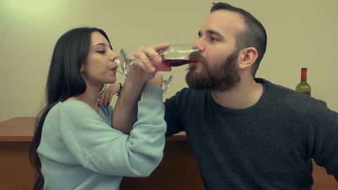 Couple Drinking Wine 3 Live Action
