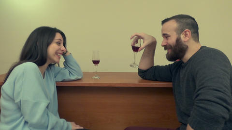 Couple Drinking Wine and Laughing 1 Live Action