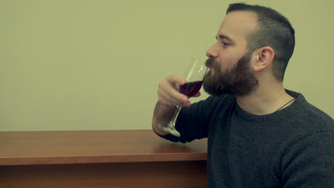 Young Man Talking and Drinking Wine Footage