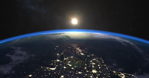 Perfect footage of sunrise over Earth Image