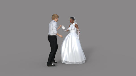 Alpha channel,the bride and groom dance ,loop, animation Animación