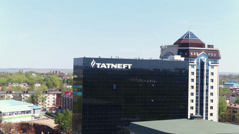 Cityscape with Tatneft Central Office and Clear Sky Footage