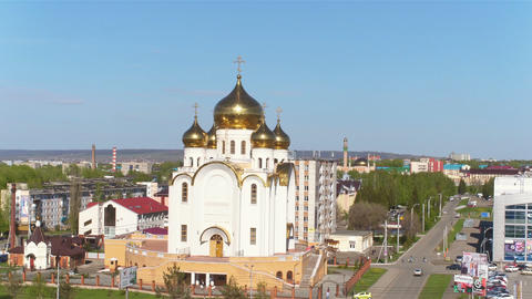 Panorama Orthodox Church with Gold Domes under Sky Footage