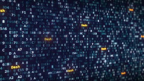 Dash captions appearing among changing hexadecimal symbols on a computer screen Fotografía