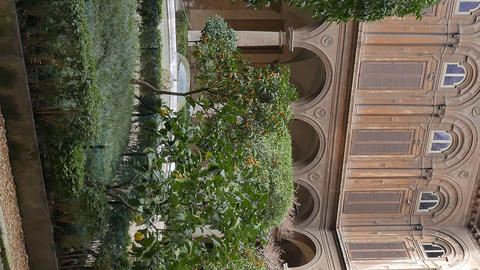 Vertical video. Courtyard Gallery Doria - Pamphili. Rome, Italy Footage