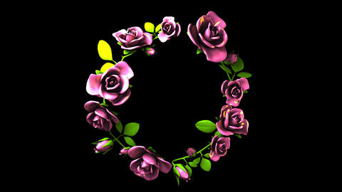 Pink Roses Frame On Black Text Space Animación