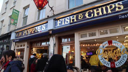 English Fish and Chips shop London UK 2 Footage
