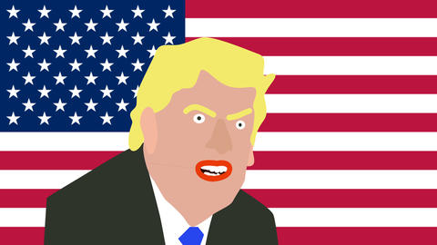donald trump cartoon speaks in front of the american flag Footage