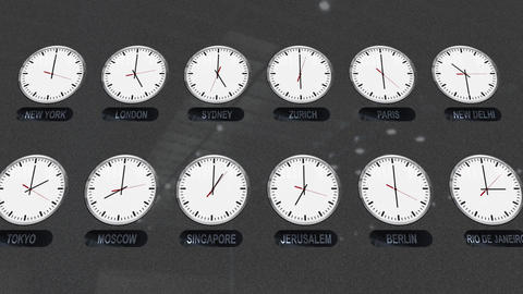 Accurate Clocks with Different Time Zones in Different Cities Footage