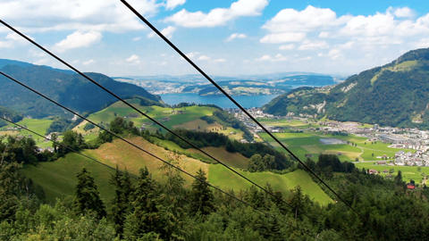 Footage from cable car at european Alps at sunny summer day Footage