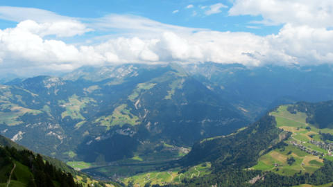 Panoramic footage of beatiful mountains in Switzerland at summer Footage