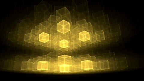 Golden Cubes Rotating In Perspective Animation