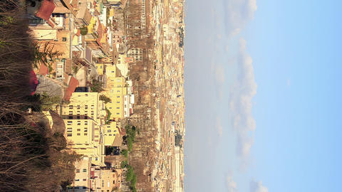 Vertical video. Rome's rooftops, evening. Italy.TimeLapse Footage