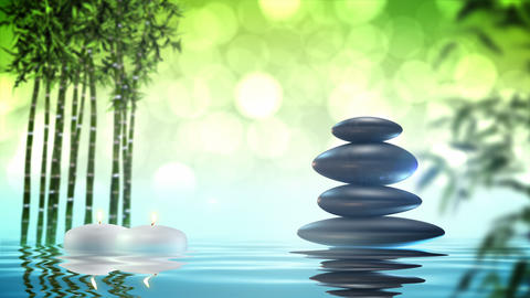 Zen stones with bamboo and water loop Animación