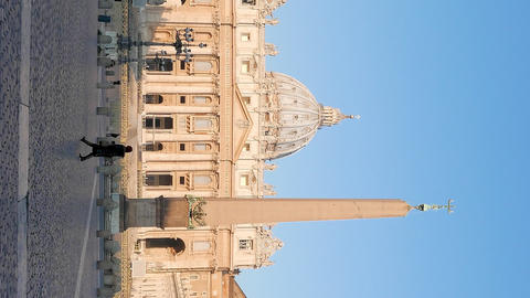 Vertical video. Piazza San Pietro, after sunrise, Vatican, Rome, Italy Footage