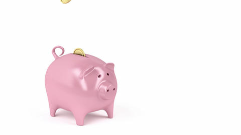 Piggy bank and coins Animation