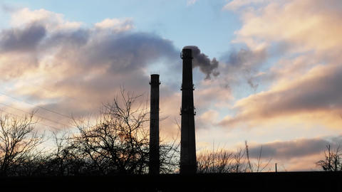 Industrial tube chimney smoke timelapse Footage