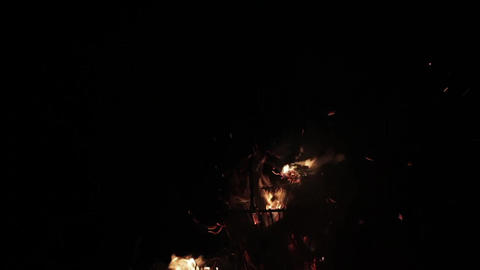 Flames Of A Campfire At Night 50p Footage