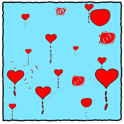 Cartoon Hearts stock footage