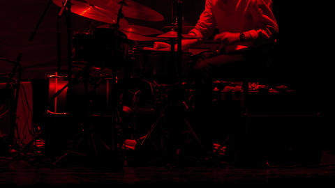 4K Drummer Man / Drum Set / Playing Drums. Jazz Drummer Playing on Stage Footage