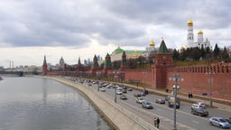 4k Kremlin wall and river in Moscow city at day time from bridge Time Lapse Footage