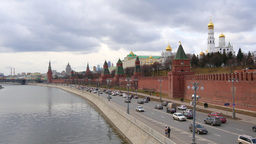 4k Kremlin wall and river in Moscow city at day time from bridge. Real time Footage