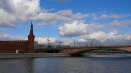 4k Kremlin. Moscow. Russia. River. Real Time. Sunny day Footage