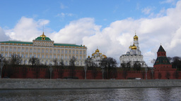 4k Walls Of Famous Kremlin And Ivan Great Bell Tower. Time Lapse. Spring. Sunny  Footage