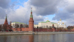 4k Moscow Kremlin And Moskva River. Time Lapse. Spring. Sunny day Footage