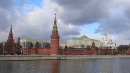 4k Moscow Kremlin And Moskva River. Real Time. Spring. Sunny day Footage