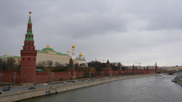 4k Moscow Kremlin in the afternoon, View from the Big Stone Bridge, Russia. Real Footage