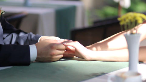 Wedding gentle hand on the table Footage