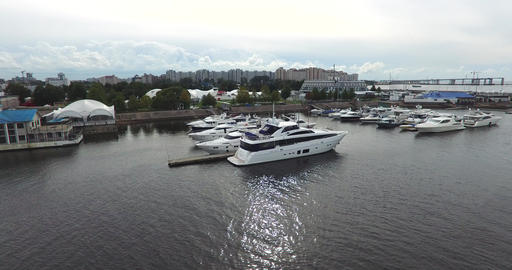 Luxery Yachts In The Harbour Footage