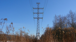 Transmission Tower And High Voltage Power Lines Footage