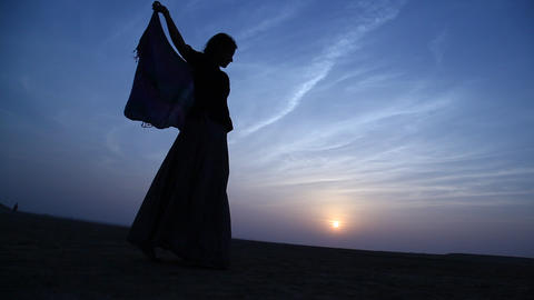 Silhouette of the woman dancing Footage