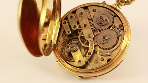 Vintage Pocket Watch 18K Gold Stock Video Footage