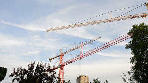 Movement Of Tower Crane stock footage