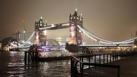 Wonderful night view of London Tower Bridge - LONDON, ENGLAND Live Action