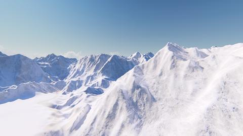 Huge snow-capped mountains 3D render Foto