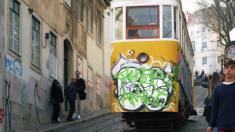 LISBON, circa 2017: Old tram elevator Gloria in the old town of Lisbon Portugal Image