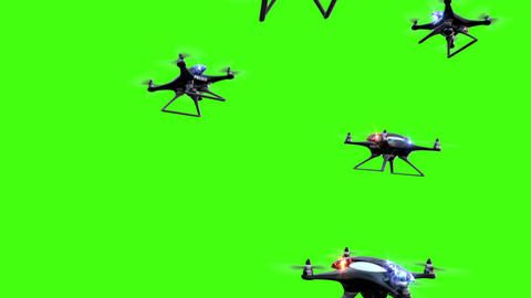 Concept of the future. Police drones take off on a green screen background Videos animados