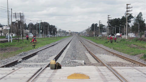 Train Tracks Going Into the Horizon On the Outskirts of Buenos Aires Footage