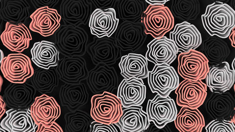 Pattern from black, white and red flowers Foto