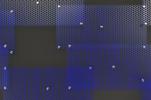 Blue circular grates on dark grey background Fotografía